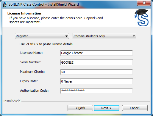 SoftLINK Classroom Management Software License Screen
