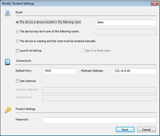 Modify Student Settings Dialog Box