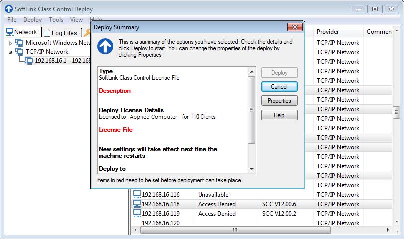 SoftLINK Class Control Deploy Summary