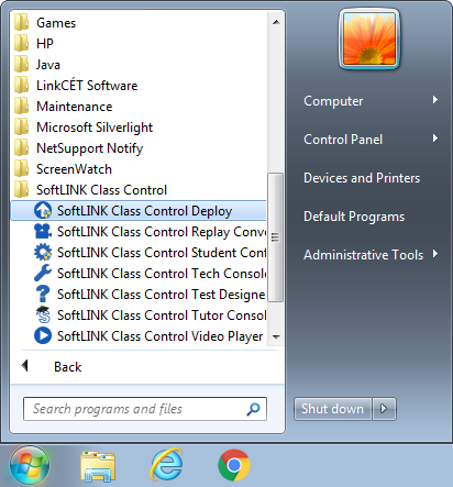SoftLINK Class Control Deploy Shortcut